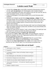 Arbeitsplan und Beurteilungsbogen zu allen Lektüren KLasse 5-10