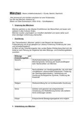 Handout Märchen (Berufsfachschule)