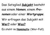 Subjekt und Prädikat (Lernplakate)