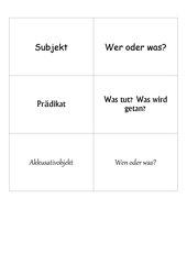 Satzglieder:    Memo-Spiel / Zuordnungsspiel