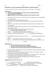 Klassenarbeit - Kombination von Lektüre und Zeichensetzung