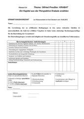 Krabat Deutscharbeit Kl. 6 Tagebucheintrag zu Kap. 6 + Erwartungshorizont