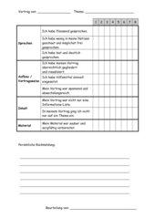 Bewertungsbogen für Powerpoint- oder Impresspräsentationen und Portfolios