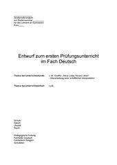 4teachers J W Goethe Neue Liebe Neues Leben