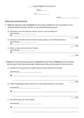 Stegreifaufgabe zu adverbialen Bestimmungen/ adverbialen Gliedsätzen
