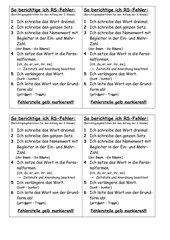 Kärtchen zur Berichtigung von Rechtschreibfehlern Klasse 3