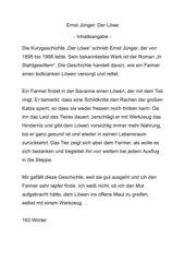 Ernst Jünger: Der Löwe
