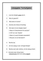 Lösungsplan Textaufgaben