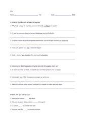 Französisch Klassenarbeit 9. Klasse Réalités 3 Unité 1