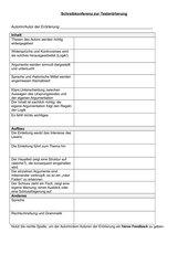 Feedbackbogen zur textgebundenen Erörterung