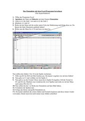 Kopierfunktion in Excel Übung