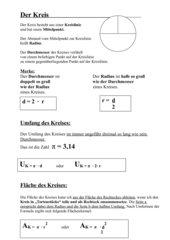 Kreis, Halbkreis, Viertelkreis, Kreisring Formelsammlung