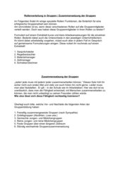 Rollenverteilung, Zusammensetzung bei Gruppenarbeiten