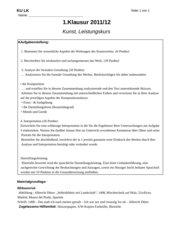 Kunstklausur LK Dürer Werkanalyse