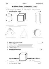Kurzprobe geometrische Körper