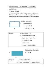 Kleine Formelsammlung Geometrie