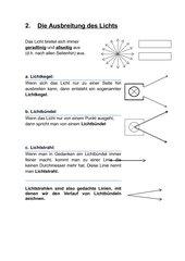 Die Ausbreitung des Lichts - Begrifflichkeiten