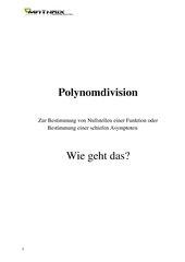 Polynomdivision; Wie geht das?