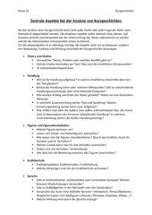 Zentrale Aspekte zur Analyse von Kurzgeschichten