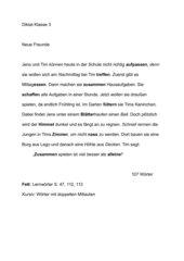 Diktat und Übungssätze passend zu Sprachbuch JoJo 3