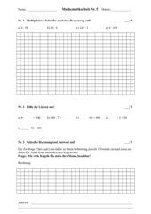 Halbschriftliche Multiplikation - Arbeit 3. Klasse