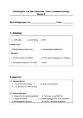 Beurteilungsbögen Schulaufgabe Klasse8