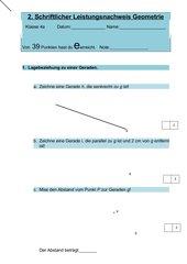 Geometrie Test Klasse 4 Winkel und Geraden