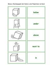 Zuordnungsspiel / Domino zu 'prepositions'