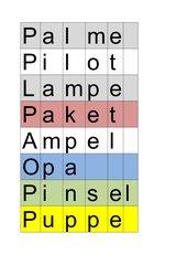 Einführung P Wörter legen