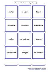 Karten  für ein  Memo-Spiel / Zuordnungsspiel:  Präteritum