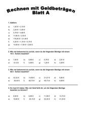 2 Arbeitsblätter Thema Geld, gemischte Aufgaben, Klasse 3