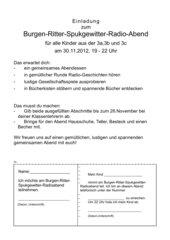Einladungsbrief zur langen Radionacht