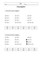 Addition zweistelliger Zahlen im ZR 100 o.ZÜ.