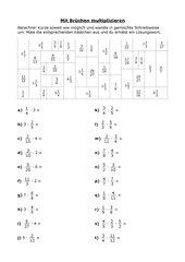 Ausmalbild - Multiplikation gemeine Brüche