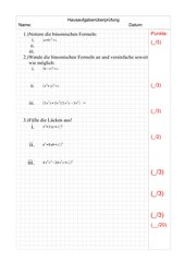 Binomische Formeln HÜ