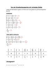 Die vier Grundrechnungsarten mit rationalen Zahlen