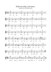 Entre las ocho y las nueve - altspanisches Weihnachtslied