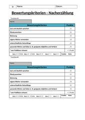 Bewertungskriterien: Nacherzählung