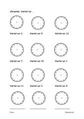 Uhrzeiten einzeichnen: Viertel vor
