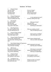Questions - All Tenses