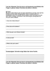 Family - Textverständnisfragen im Englisch-Anfangsunterricht