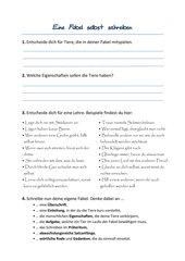 Deutsch Arbeitsmaterialien Fabeln Schreiben 4teachersde