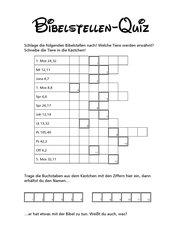 Bibelstellenquiz mit Lösungswort. 4. Klasse, 5. Klasse, 6. Klasse