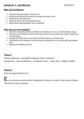 Aufsatz Märchen und Beurteilungsbogen