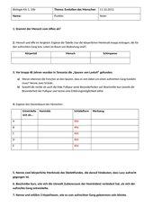 Klassenarbeit Biologie Evolution Mensch Kl. 10