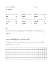 Übungsstunde Volumen (Liter Milliliter) 4. Klasse Arbeitsblatt