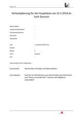 schriftlicher Unterrichtsentwurf Geschichten schreiben Kl. 5