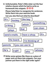 Relative clauses: Scrambled sentences