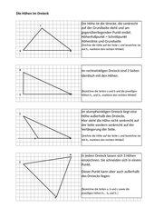Merkblatt Höhen im Dreieck