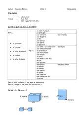 Vocabulaire A+1 Nouvelle édition Unité 2 nach Wortfeldern